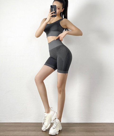Contrast Stripe Seamless Wide Waistband Sports Shorts gallery 8