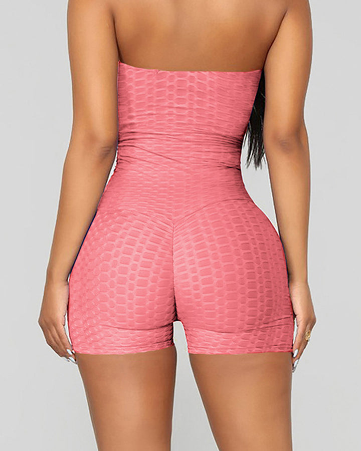 Letter Print Textured Strapless Sports Romper gallery 16