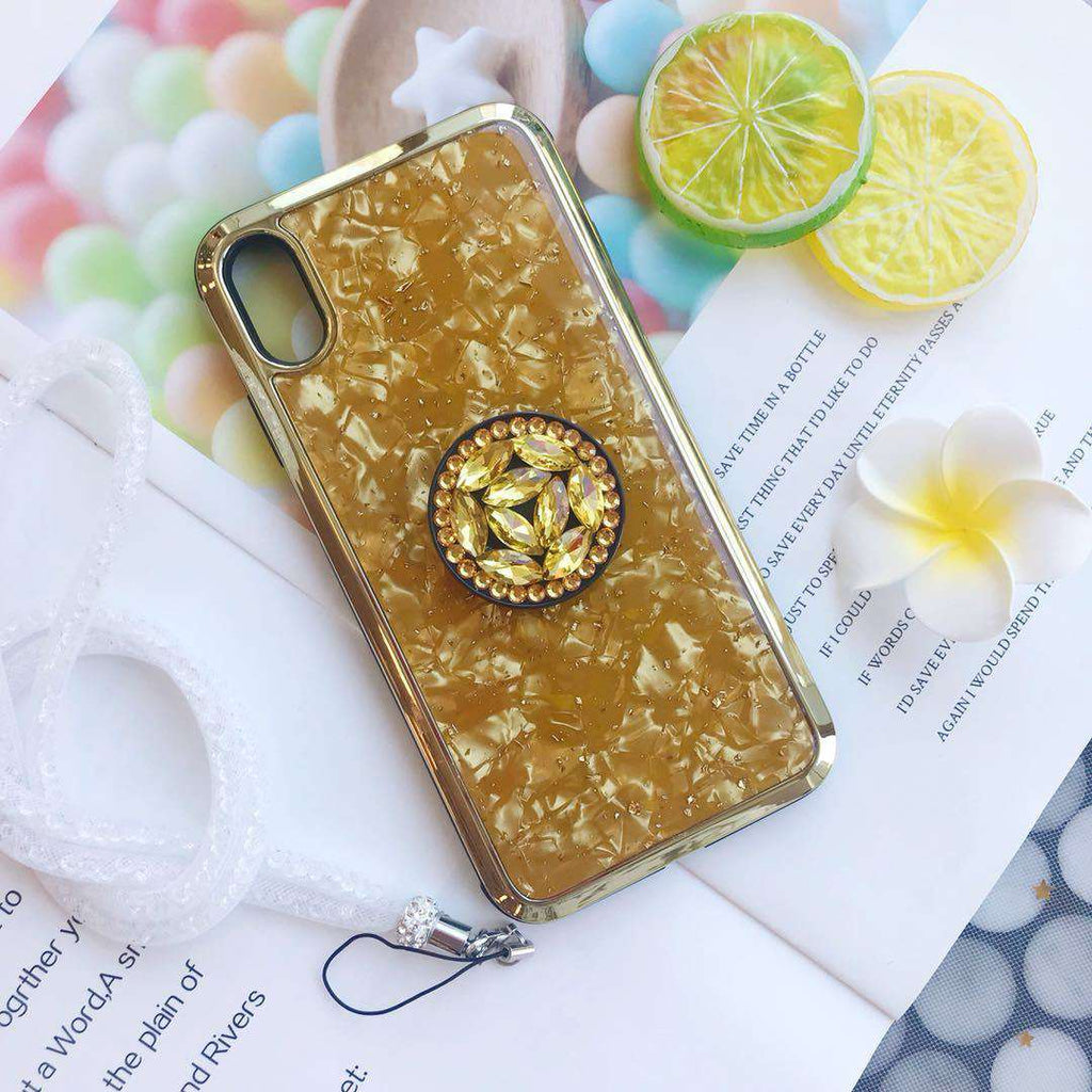 Luxury Shell Pattern Phone Case for Apple iPhone with Phone Holder and Lanyard
