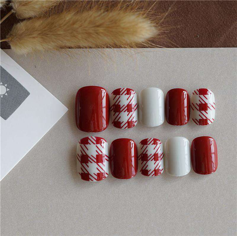 Red Plaid Magic Press On Nail Manicure