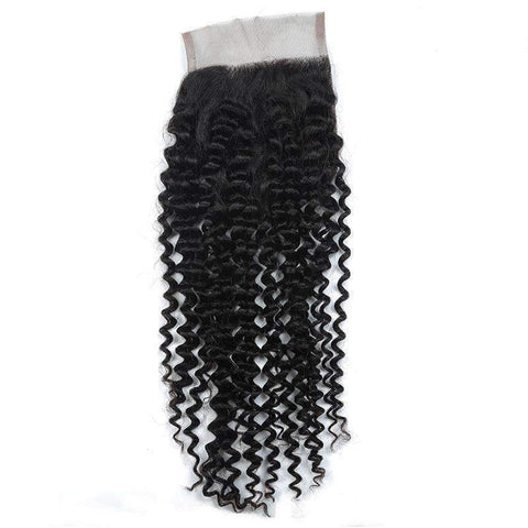 Deep Wave Human Hair With 4X4 Lace Frontal Closure gallery 1