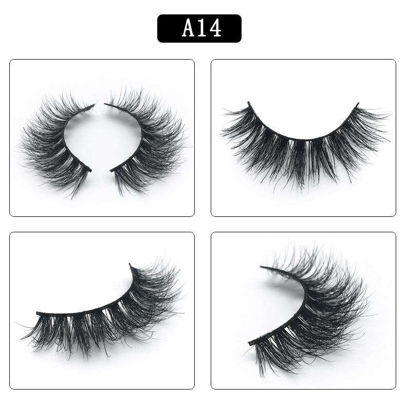 Mink Hair Natural Fake Eyelashes Cross Thick Eye Lashes 1Pair A14