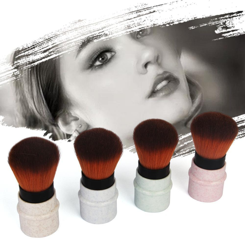 Marbled Retractable Blush Brush 4Pcs Set