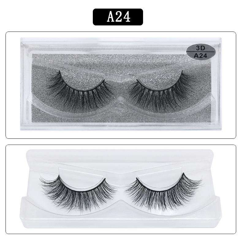 Mink Hair Natural Fake Eyelashes Cross Thick Eye Lashes 1Pair A24