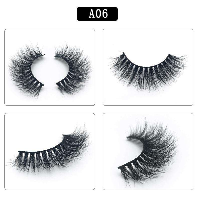 Mink Hair Natural Fake Eyelashes Cross Thick Eye Lashes 1Pair A06