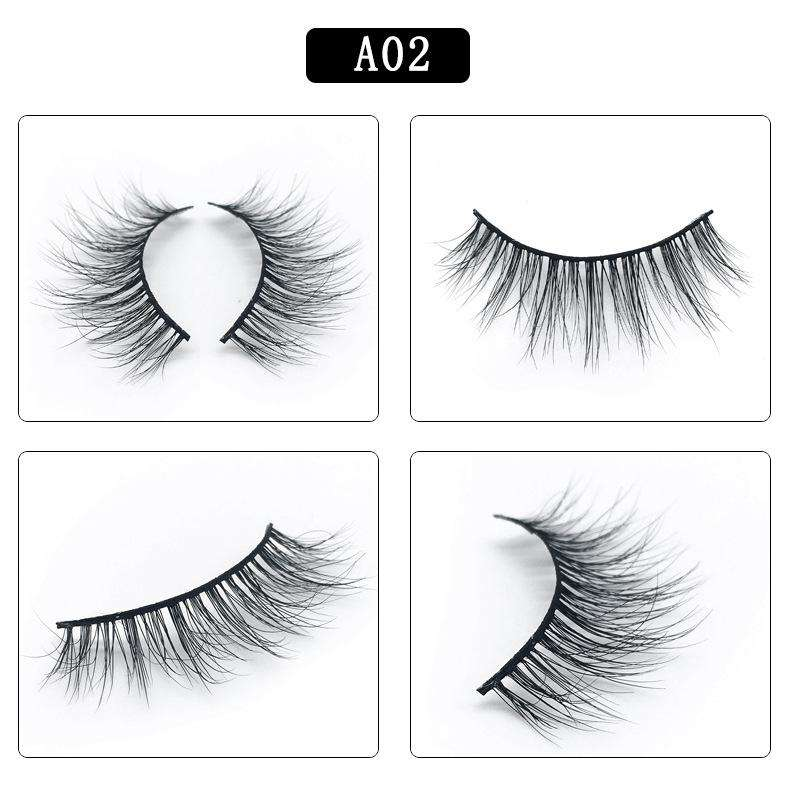 Mink Hair Natural Fake Eyelashes Cross Thick Eye Lashes 1Pair A02