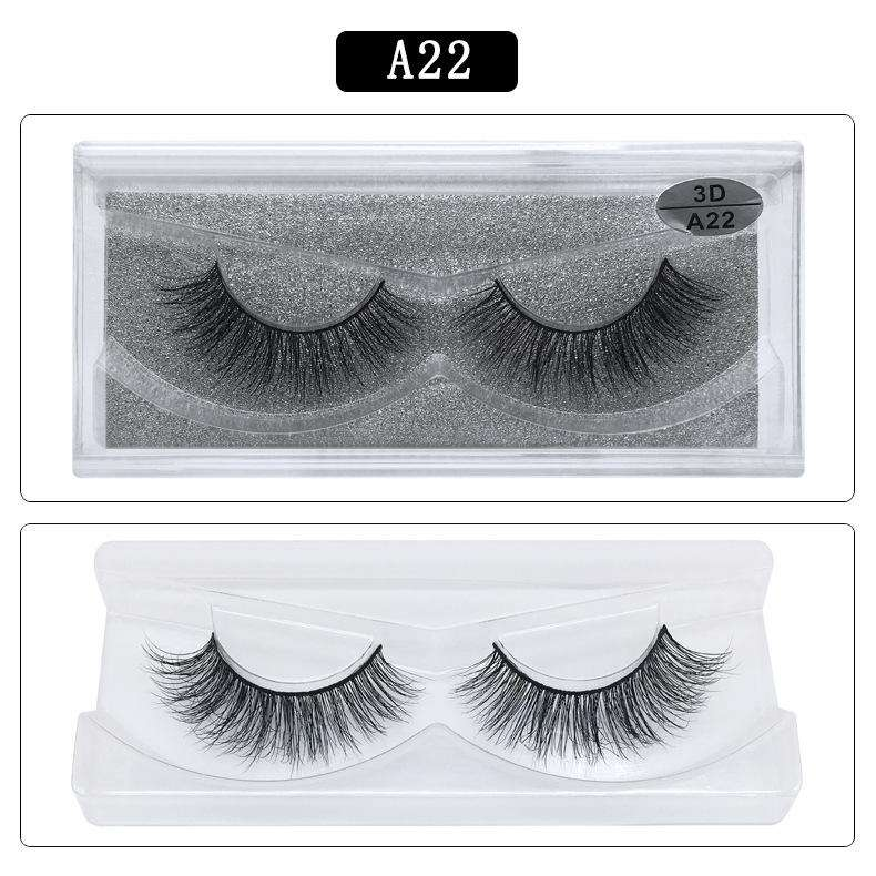 Mink Hair Natural Fake Eyelashes Cross Thick Eye Lashes 1Pair A22
