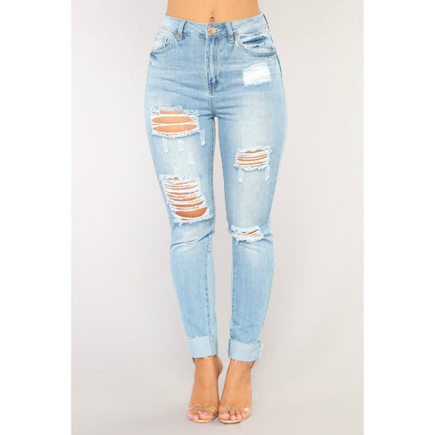 Boyfriend Distressed High Rise Skinny Jeans