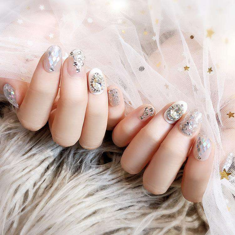 Mermaid Tear Glitter Magic Press On Nail Manicure