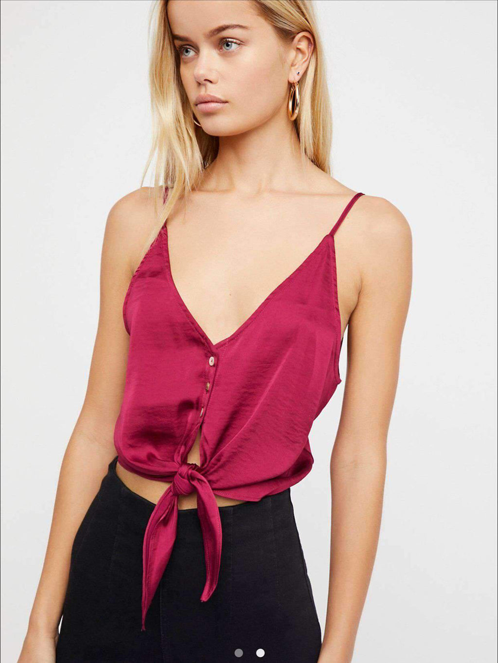 Bow Knot Front Ladder Satin Cami Top
