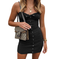 Ribbed Knit Press Stud Spaghetti Strap Mini Dress