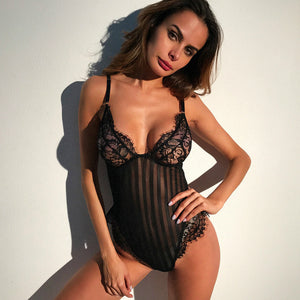 Sexy Lingerie Lace And Stripes Pattern Matching Teddy