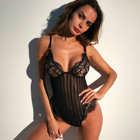 Sexy Lingerie Lace And Stripes Pattern Matching Bodysuit