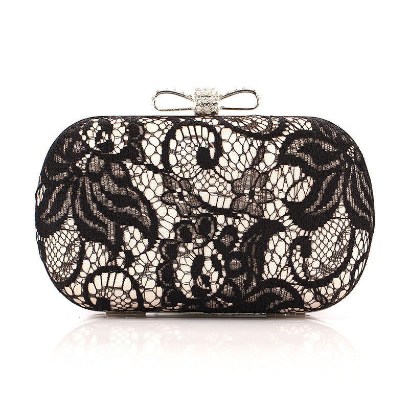 Lace Surface with Bow Knot Evening Bag Clutch Purses
