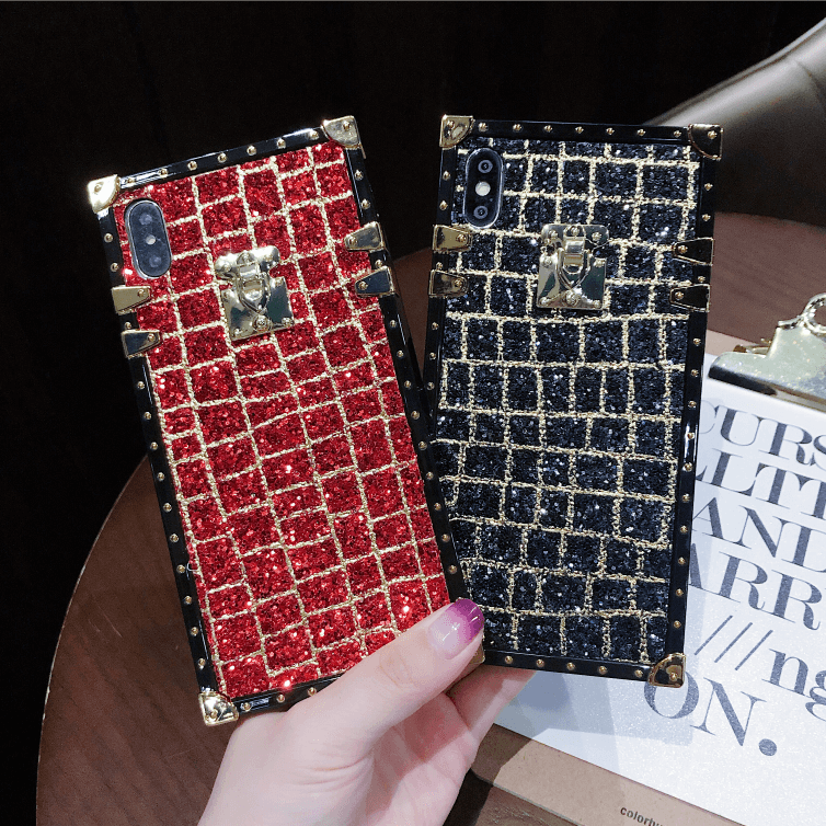 Glitter Sequins Plaid Square Phone Case for Samsung