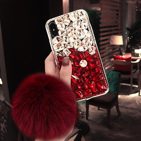 Stitching Rhinestone Deco Phone Case for Samsung with Pom-pom gallery 1