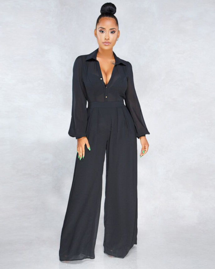 Solid Button Detail Puff Sleeve Jumpsuit