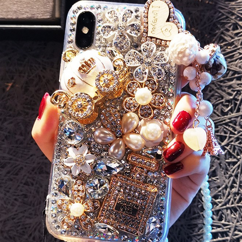 Luxury Bottle & Full Rhinestone Cover Phone Case for Samsung with Hand Strap gallery 3