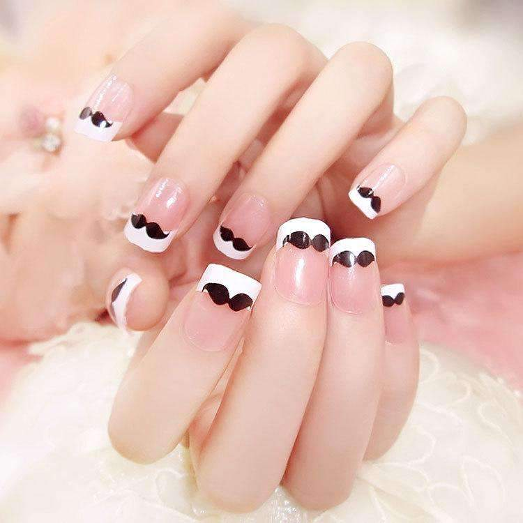 French Moustache Magic Press On Nail Manicure
