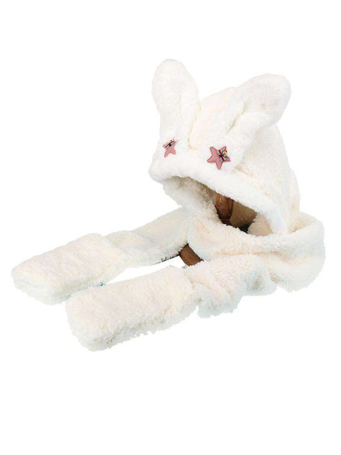 Women's Winter Rabbit Ear Fluffy Hat, Scarf, and Gloves Come in Three Pieces gallery 9