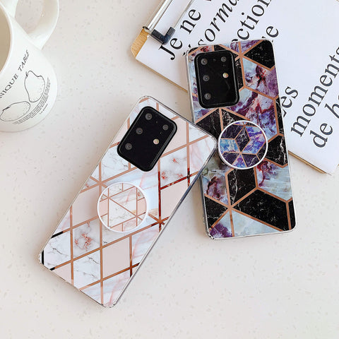 Marble Electroplated Detail Phone Case for Samsung with Phone Holder gallery 3