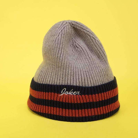 Embroidery Letter Striped Beanie Hat gallery 5