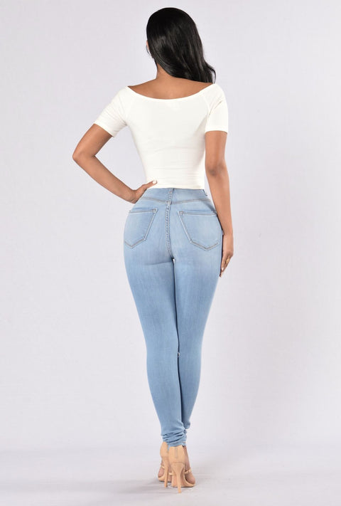 High Waist Knee Ripped Button Up Jeans gallery 8