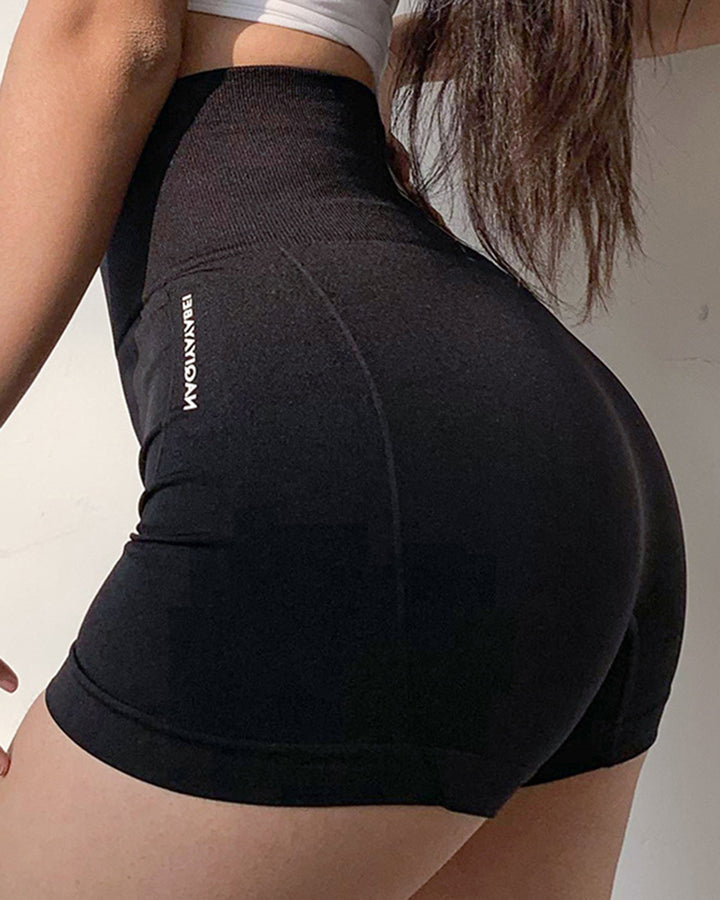 Letter Print Wide Waistband Stitch Trim Sports Shorts gallery 1