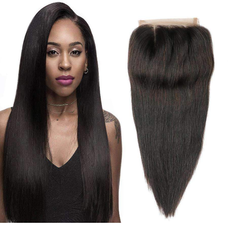 Brazilian Straight Wave Human Hair with 4X4 Lace Closure