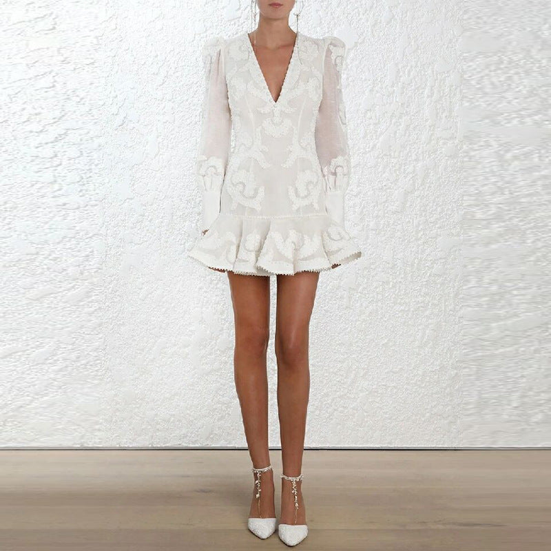 White Deep-V Lace See Through Blazer Dress
