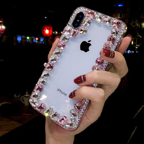 Glittering Rhinestone Side Clear Transparent Phone Case for Samsung gallery 3