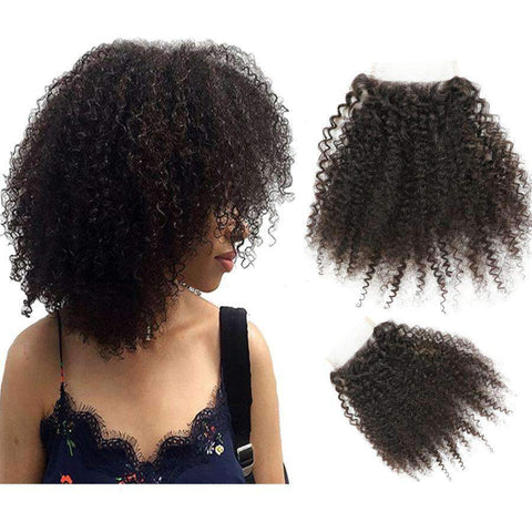 8A Human Hair 4x4 Afro Lace Closure gallery 1