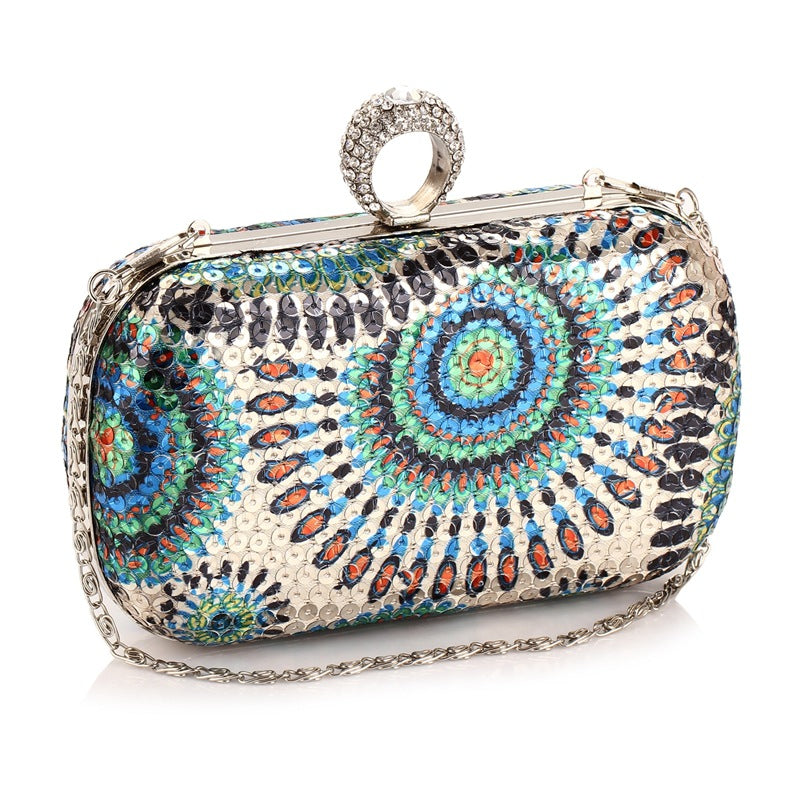 Moonflower Glitter Sequin Evening Bag Clutch Purses