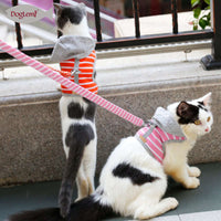 Soft Stripe Cotton Hoodie Puppy Cat Harness with Leash for jogging