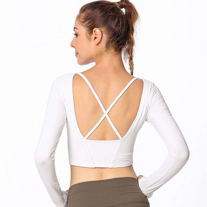 Long-sleeve Cross Straps Sport Tops