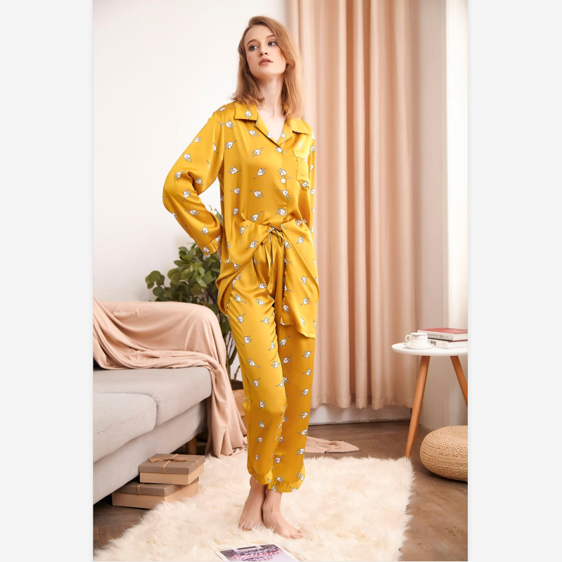 Animal Print Button Up Pocket Front PJ Set