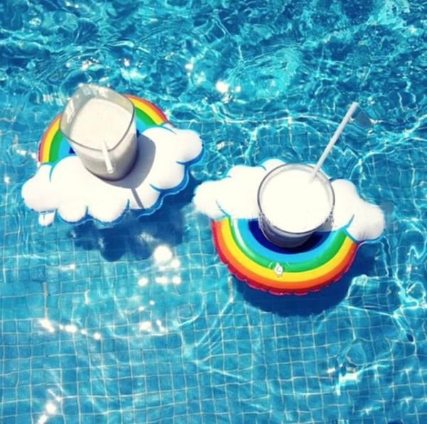Rainbow Inflatable Party Pool Drink Serving Float