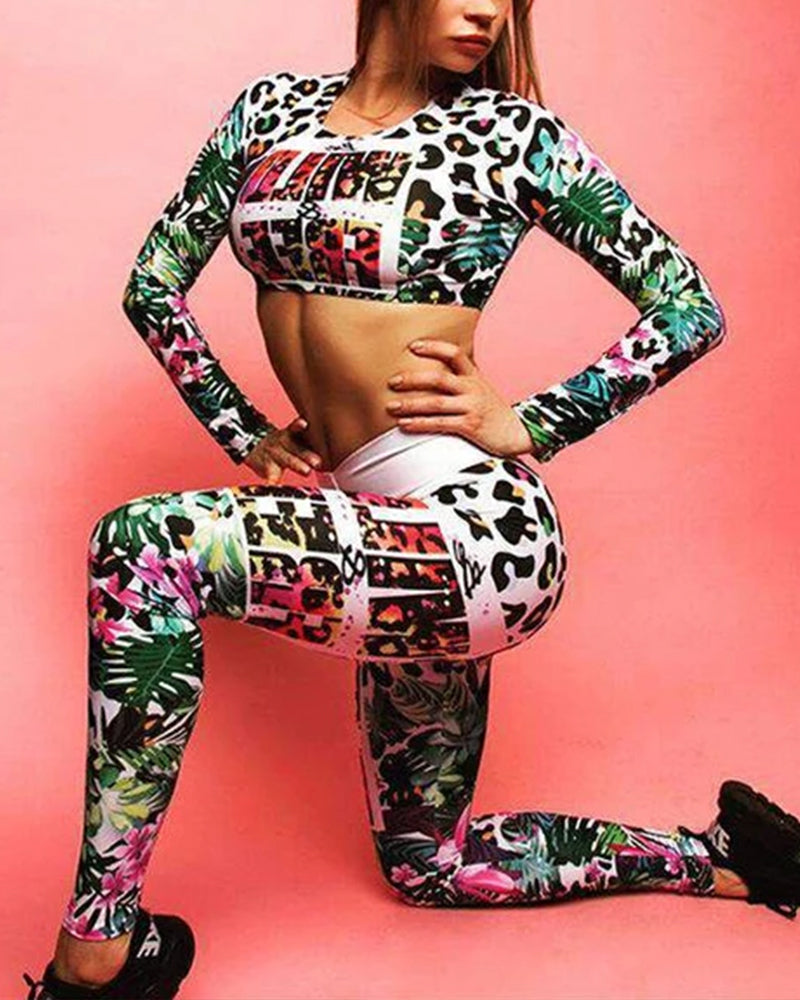 Floral Navel Long-Sleeved Top & High Waist Pants Leggings Yoga Set