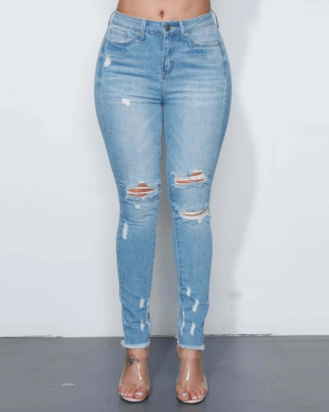 Knee Distressed High Waist Jeans