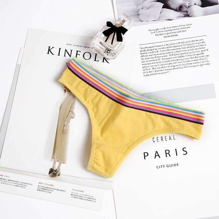 Cotton T-Back With Rainbow Line Panty (3Pcs)