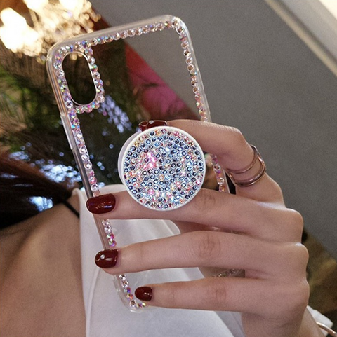 Luxury Small Rhinestone Trim Transparent Phone Case for Samsung with Phone Holder gallery 8