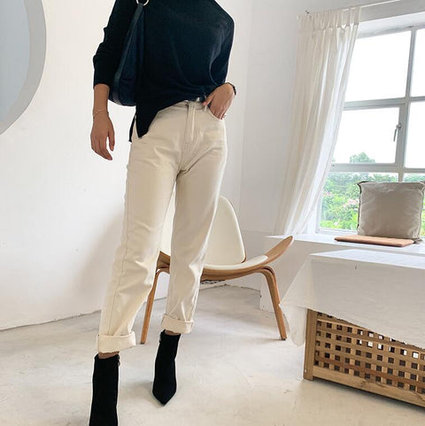 Vintage Off White High Waist Straight-Leg Jeans