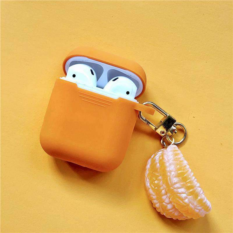Cute Orange Silicone Protective Cover Case for Apple AirPods