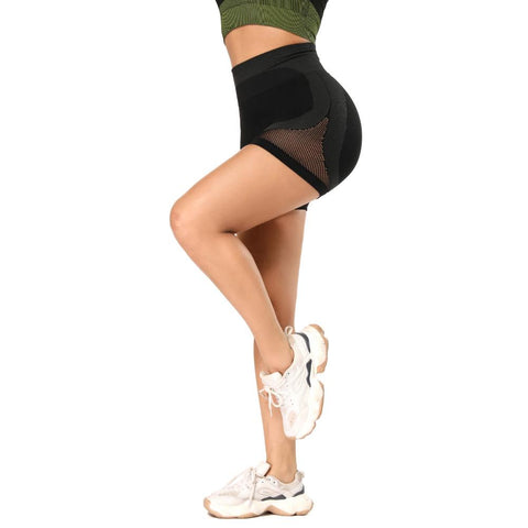 Mesh Panel Colorblock Wide Waistband Sports Shorts gallery 7