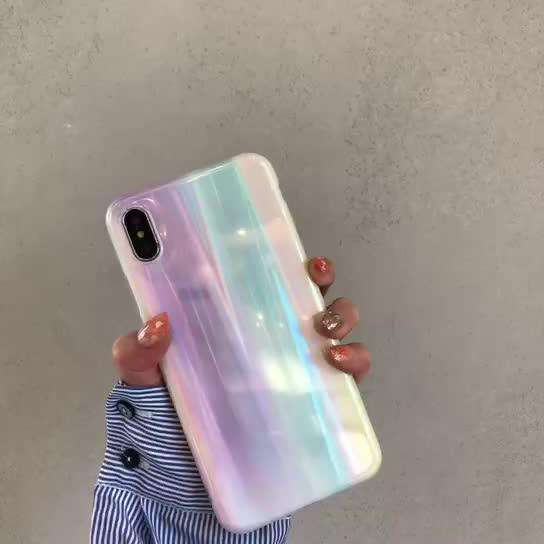 Laser Shining Pearl Color Lovely Soft Case For iPhone