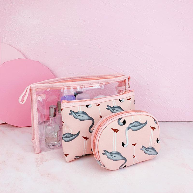 3Pcs Muti-Functional Flamingo Make-up Bag Set