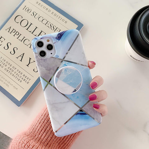 Stitching Plaid Marble Phone Case for Samsung with Phone Holder gallery 2