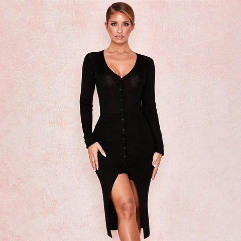 Basic Black V-Neck Button Up Knitted Cardigan Dress