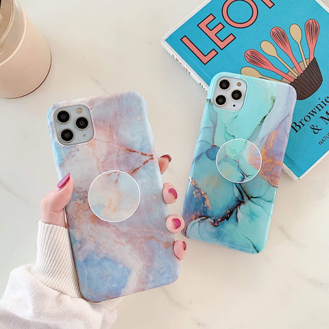 Gradient Frosted Marble Print iPhone Case with Phone Holder