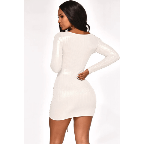 Metallic Cut Out Front Drawstring Ruched Mini Bodycon Dress gallery 7